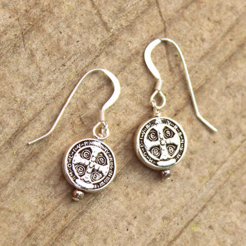 Silver Coin Earrings St. Benedict Medal Antique Vintage Religious / Antique Silver Coin Jewelry Cross Vintage Style STERLING SILVER Earrings