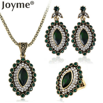 Joyme Fashion Costume Vintage Gold Tribal Earring Ethnic African Pendant Necklace Ring Emerald Green Resin Turkish Jewelry Set