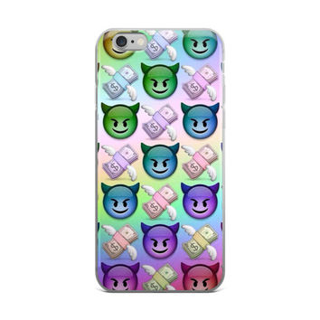 Cash Money With Wings & Devil Emoji Collage Teen Cute Girly Girls Blue Purple Red & Green iPhone 4 4s 5 5s 5C 6 6s 6 Plus 6s Plus 7 & 7 Plus Case