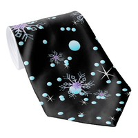 "Modern black snowflake ""Merry Christmas"" Neck Tie"