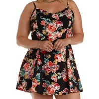 Plus Size Black Combo Floral Print Skater Dress by Charlotte Russe
