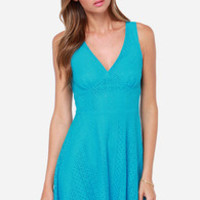 More Than A Feeling Turquoise Lace Dress