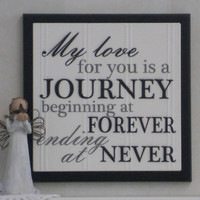 My love for you is a journey beginning at forever and ending at never - Wooden Plaque / Sign - Painted Black - Wedding / Anniversary Gift