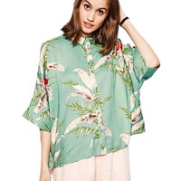 Green Batwing Shirt In Leaves Print