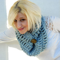 The Northerner crochet infinity scarf, winter cowl, crochet button cowl in Frost