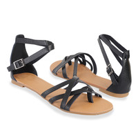 Crossed Strap Thong Sandals