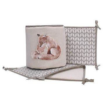 Lambs & Ivy Painted Forest Gray/Tan Fox Nursery 4-Piece Baby Crib Bumper