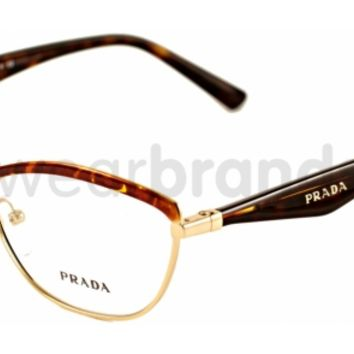 Prada PR 55RV Prada PR55RV 2AU101 Havana/Pale Gold Glasses | Eyewear Brands