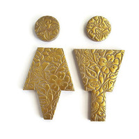 Bathroom Sign, Gold Bathroom Door Male Female Signs, Washroom Door Sign, Gold Bathroom Accessories , Floral Pattern