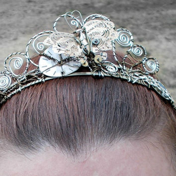 Steampunk Butterfly Wire Wrap Tiara Headband