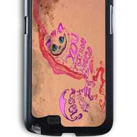 Samsung Galaxy Note 2 Case - Rubber (TPU) Cover with Alice In Wonderland Cheshire Cat Quote Rubber Case Design
