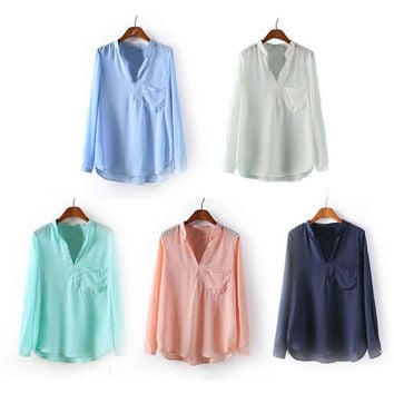 5 Colors Fashion Women Spring Summer Solid Color Blouse Long Sleeve V Neck Chiffon Shirt Top = 1695430020