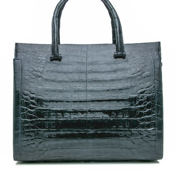 Bolt Navy Croc Top Hadle Bag