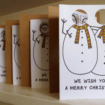 A6 add your own face/photo Die- Cut out Snowman Christmas Card !