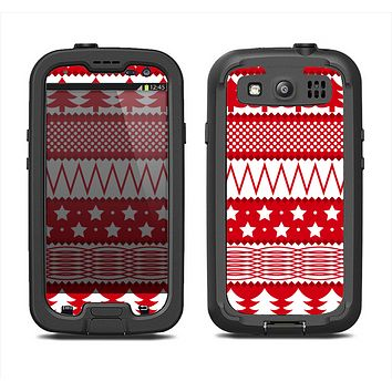 The Red and White Christmas Pattern Samsung Galaxy S3 LifeProof Fre Case Skin Set