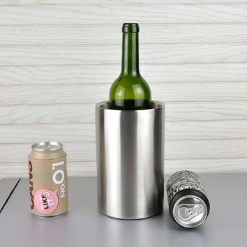 1Pcs Stainless Steel Wine Ice Buckets Cooler Drink Champagne Beer Chiller Ice Bucket Double Wall KTV Bar