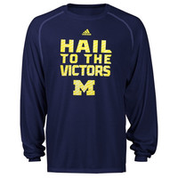 adidas Michigan Wolverines Sideline Swagger Long Sleeve Performance T-Shirt - Navy Blue