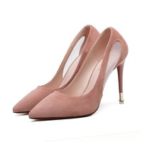 Pointed Toe Candy Color Mesh Patchwork Transparent High Stiletto Heel Prom Shoes