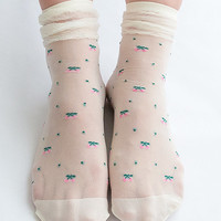Women NEW Hezwagarcia Cute Cherry Pattern Frill Stocking White Sheer Lace Layered Socks Hosiery