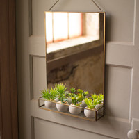 Brass Finish Wall Mirror with Shelf & Chain