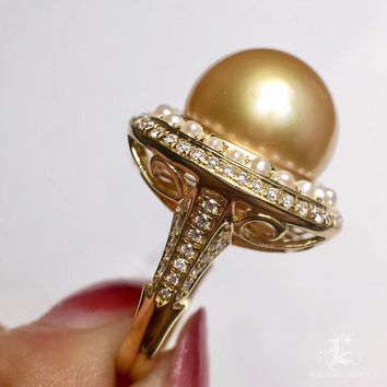 CUSTOMIZE | 14-15mm Golden South Sea Pearl Royal Ring, 18k Gold w/ Diamond