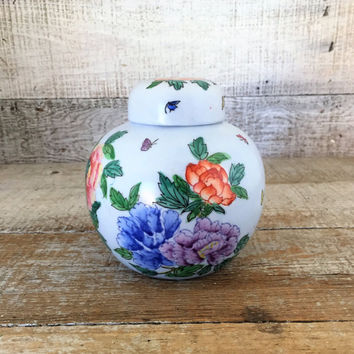 Ginger Jar Vintage Ceramic Urn Hand Painted Lidded Ginger Jar Ceramic Vase Asian Urn Made in Japan Macau Porcelain Floral Design Ginger Jar