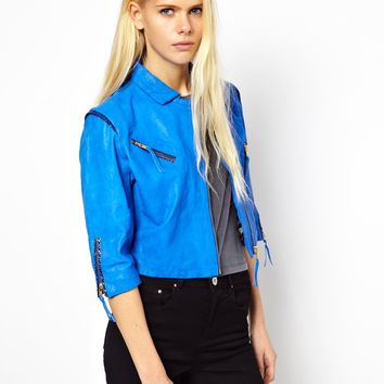 Doma Cropped Leather Jacket with Zips