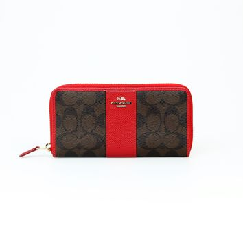 Coach Monogrammed Brown/Red Wallet