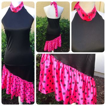 Rubies Halloween Flamenco Dancer or 1980's Polka Dot Asymmetrical Costume One Size