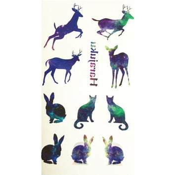 10x6cm Temporary Small Cute Fashion Tattoo Colorful Rubbish Deer Cat