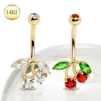14Kt Yellow Gold Navel Ring with Cherry