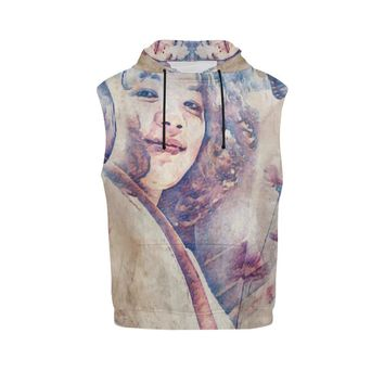Levi Thang Vintage Face Design V Sleeveless Hoodie for Women