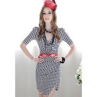 Houndstooth Short Sleeve Bodycon Dress