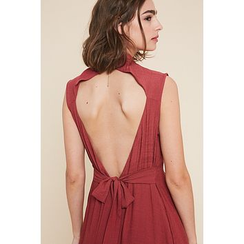 Open Back Button Down Midi Dress