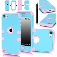 iPod Touch 5 Case, E LV iPod Touch 5 Case - Hard and Soft Hybrid Armor Defender Sports Combo Case for Apple iPod Touch 5 iTouch 5th Generation with 1 Screen Protector, 1 Black Stylus, 1 Water Resistant Bag and 1 E LV Microfiber Digital Cleaner (Baby Pink L