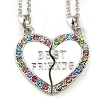 Best Friends Forever BFF Pink Green Purple Blue Heart Necklace Pendant Teen Teenager Women Engraved
