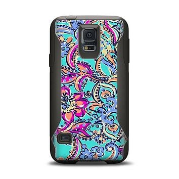 The Bright WaterColor Floral Samsung Galaxy S5 Otterbox Commuter Case Skin Set