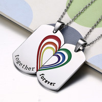 Stainless Steel Women Men Gay Pride Rainbow Necklaces Pendants Jewelry 1 Pair