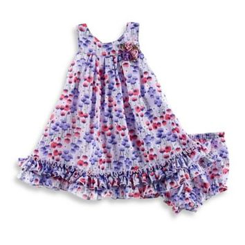 Pippa & Julie™ Floral Sleeveless Dress with Ruffled Hem in Blue/Rose