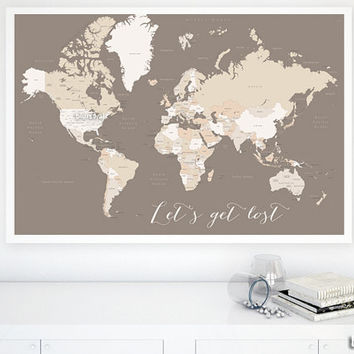 Custom quote - PRINTABLE world map with country names, US states names, Canadian provinces names. Earth tones. Gift for him. map140 001
