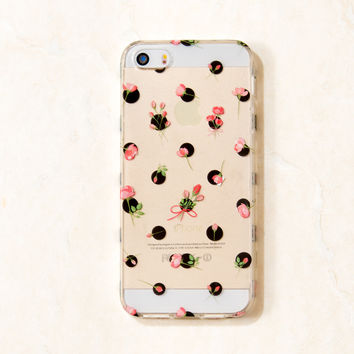 Clear Multicolor Rose Polka Dots floral flower iPhone 5C/S/5 case