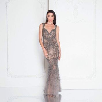 Terani Couture - 1812GL6513 Beaded Sleeveless Fitted Evening Dress