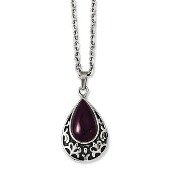 Stainless Steel Antiqued & Purple Cat's Eye Teardrop 20in Necklace SRN1132