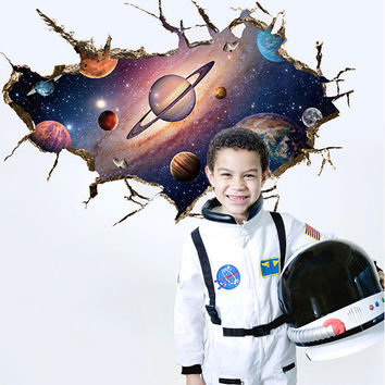 DIY 3D Amazing Cosmos Outer Space Planet Wall Stickers For Kids Room Beatiful Galaxy Sticker Home Decor Gift For Children WS230