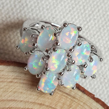 Fashion cluster white fire opal ring for lady's gift