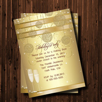 Gold Christmas Party Invitation-Printable-Champaigne Glass-Holiday-New Years-Office Party