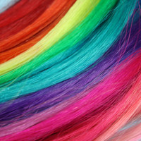 Rainbow Colored Human Hair Extensions, Colored Hair Extension Clip, Hair Wefts, Clip in Hair, Pastel Hair, Dipped Dyed Hair