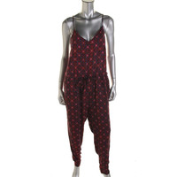 Free People Womens Floral Print Adjustable Straps Jumpsuit