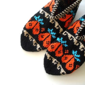 knitted slippers, womens slippers, orange and black Slippers, Turkish Socks Slippers, knit socks, home shoes, Mothers day womans gifts
