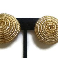 Special - Vintage 1980s Gold Tone Basket Weave Button Clip-On Earrings - Under 3 Dollars - VIC857